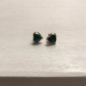 Real Jade and Silver Heart Studs from Asia